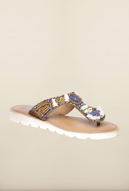 Pavers England Brown & Blue Thong Sandals