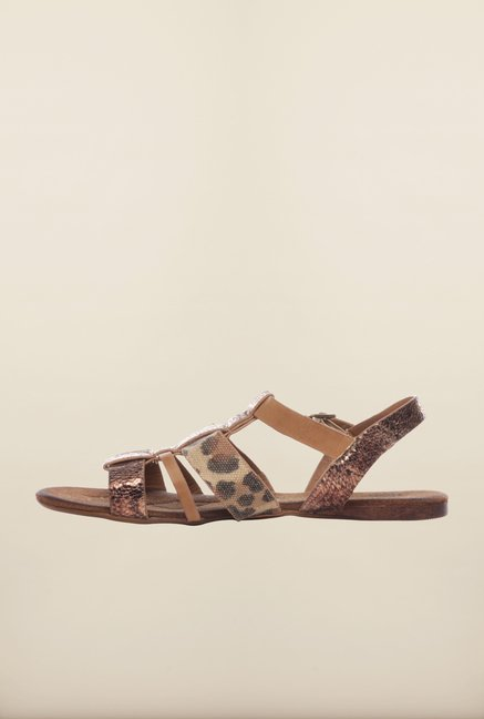 Pavers England Brown Ankle Strap Sandals