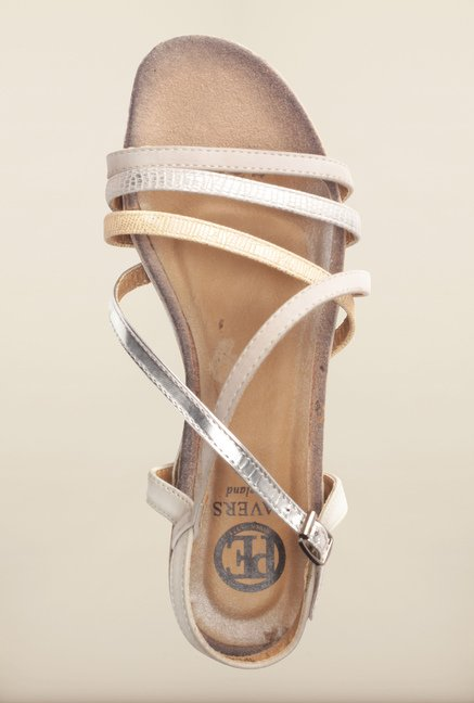 Pavers England Silver & Pink Cross Strap Sandals