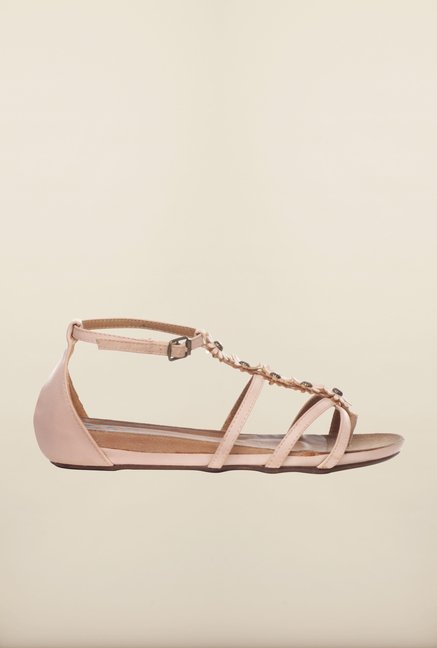 Pavers England Light Pink Ankle Strap Sandals