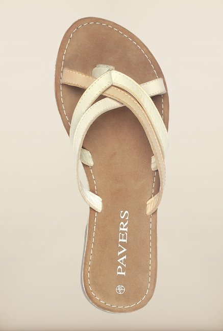 Pavers England Beige & White Cross Strap Sandals