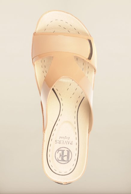 Pavers England Beige Slide Wedges