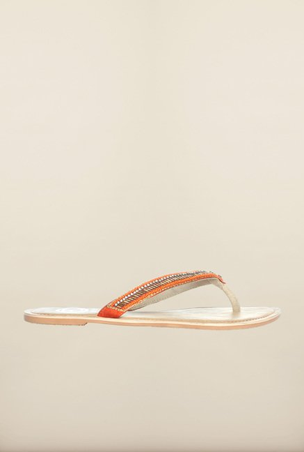 Pavers England Orange & Brown Thong Sandals