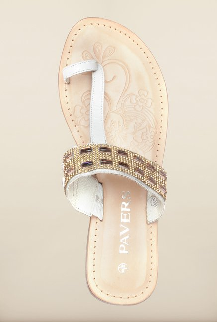 Pavers England White Casual Sandals