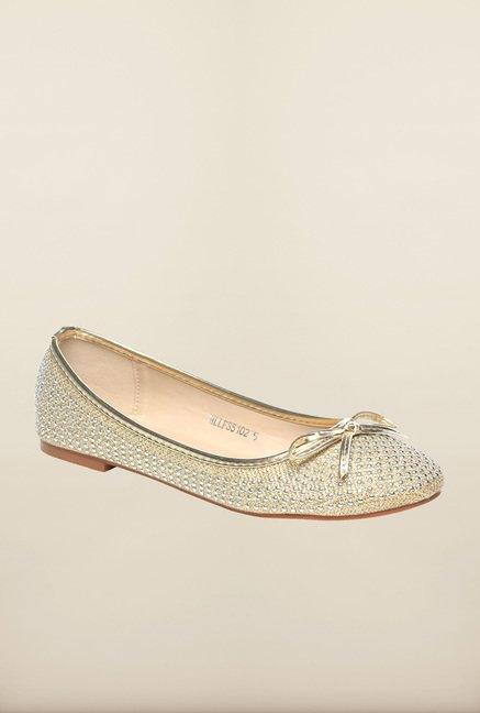 Pavers England Golden Flat Ballerinas