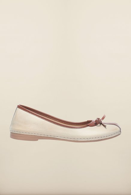 Pavers England Light Beige Flat Ballerinas