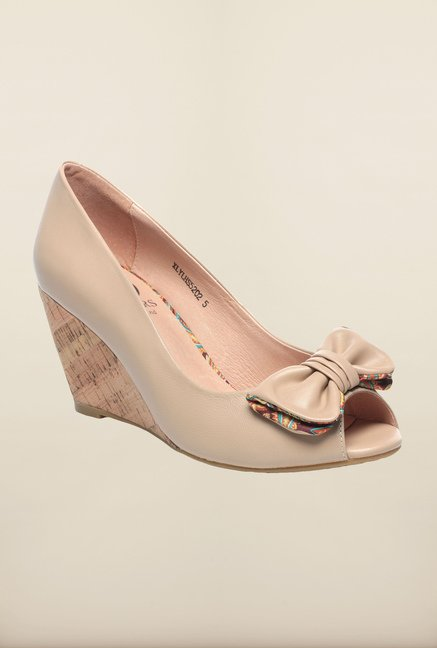 Pavers England Beige Peep Toe Wedges