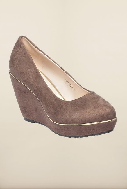 Pavers England Brown Wedge Heel Shoes