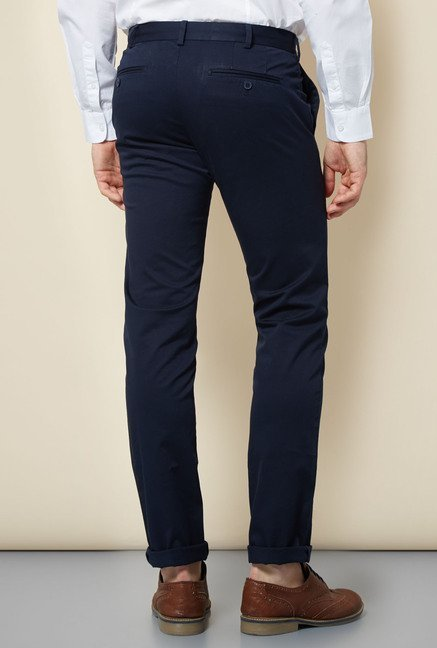 Cottonworld Navy Solid Chinos