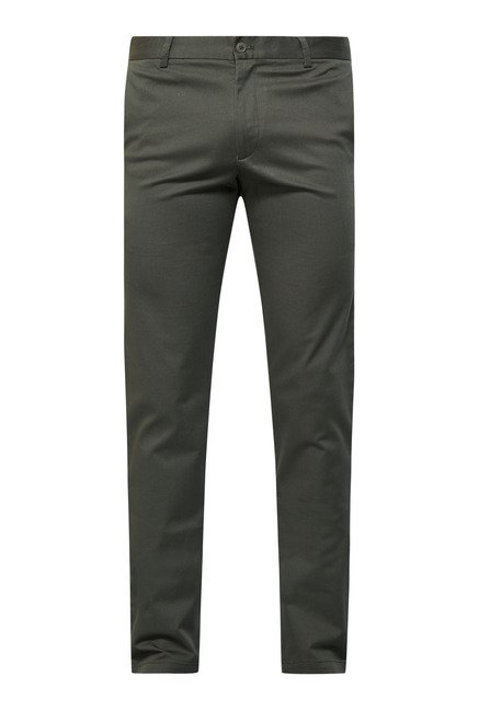 Cottonworld Olive Solid Cotton Chinos
