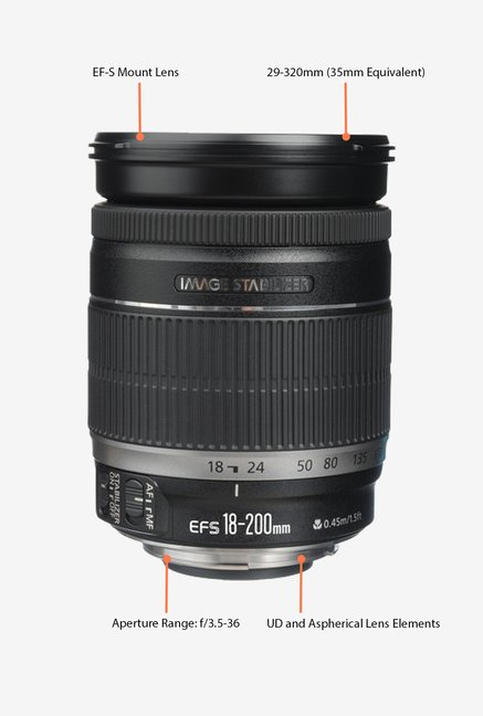 Canon EF-S 18-200mm f/3.5-5.6 IS Lens Black