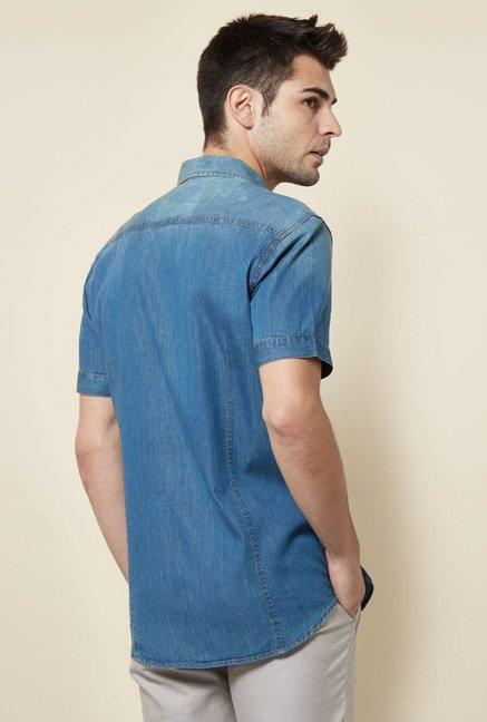 Cottonworld Denim Solid Casual Shirt