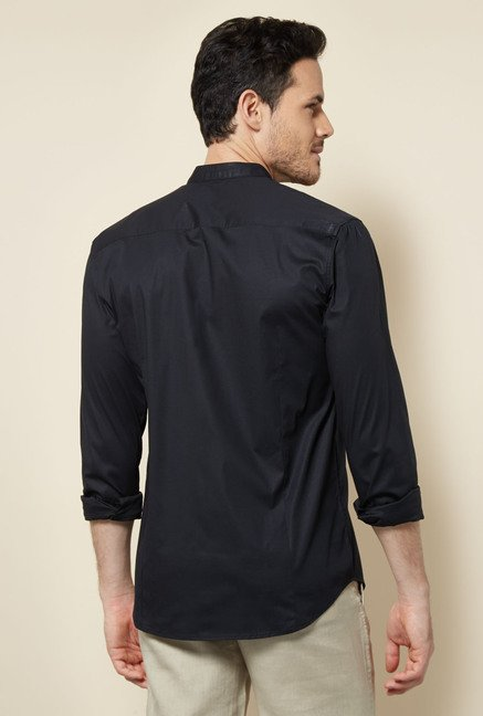 Cottonworld Black Solid Casual Shirt