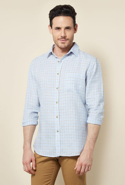 Cottonworld Light Blue Checks Casual Shirt