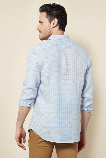 Cottonworld Light Blue Checks Casual Linen Shirt