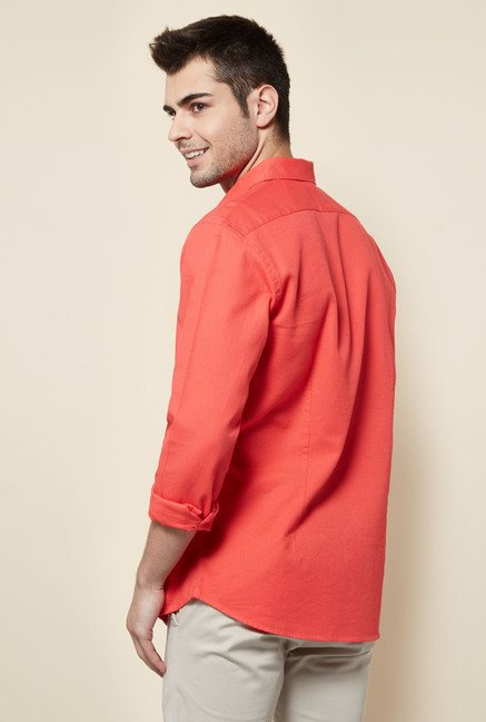 Cottonworld Coral Solid Casual Shirt