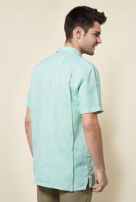 Cottonworld Mint Green Solid Casual Shirt
