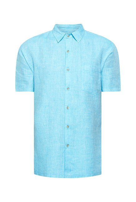 Cottonworld Turquoise Solid Casual Shirt