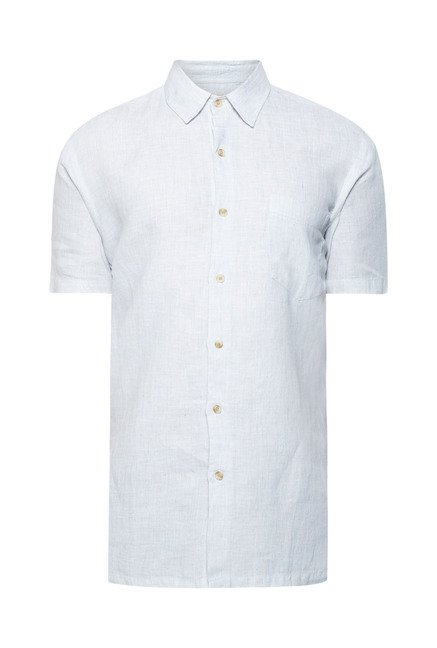 Cottonworld Light Blue Solid Casual Shirt