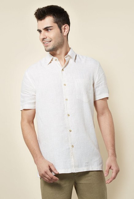 Cottonworld Cream Solid Casual Shirt
