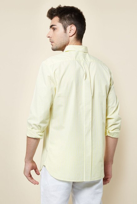 Cottonworld Yellow Checks Casual Shirt