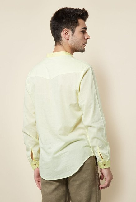 Cottonworld Lime Solid Casual Shirt