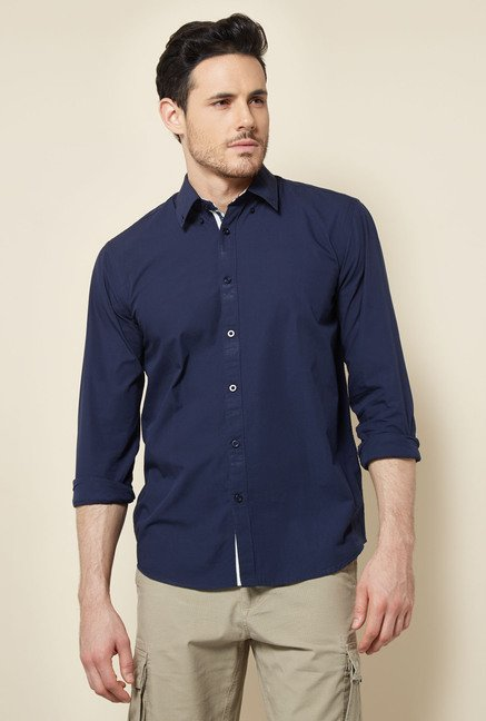 Cottonworld Navy Solid Casual Shirt