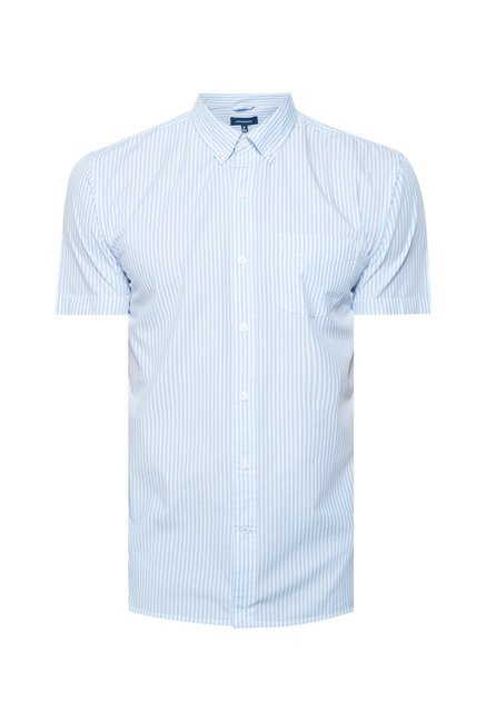 Cottonworld Light Blue Striped Casual Shirt