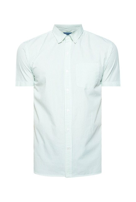 Cottonworld Green Striped Casual Shirt