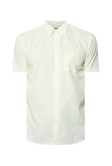 Cottonworld Yellow Striped Casual Shirt