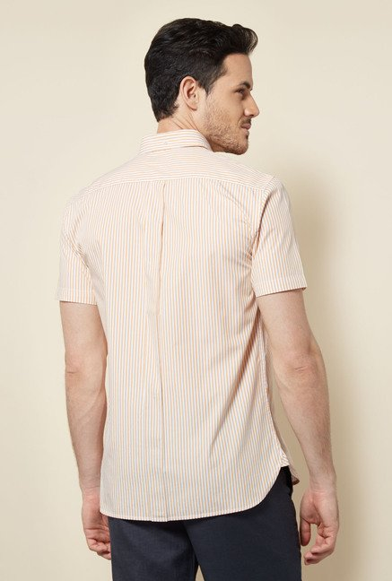 Cottonworld Orange Striped Casual Shirt