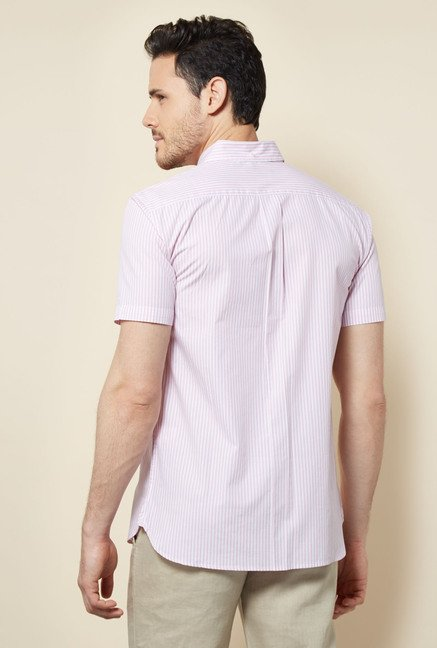 Cottonworld Pink Striped Casual Shirt