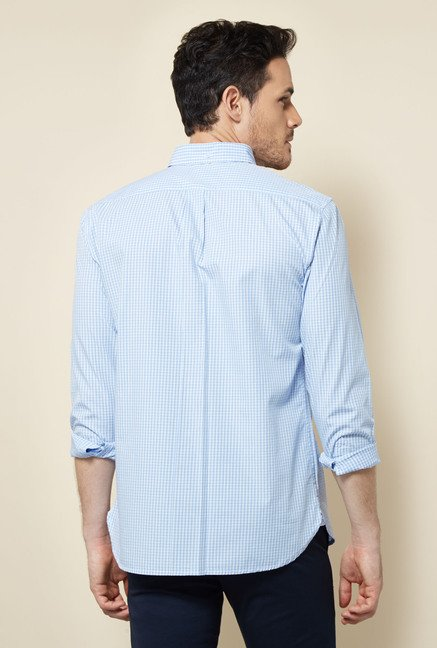 Cottonworld Blue Checks Casual Shirt