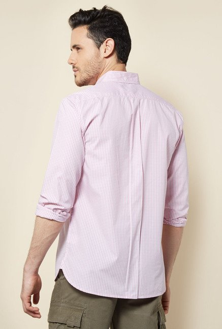 Cottonworld Pink Checks Casual Shirt