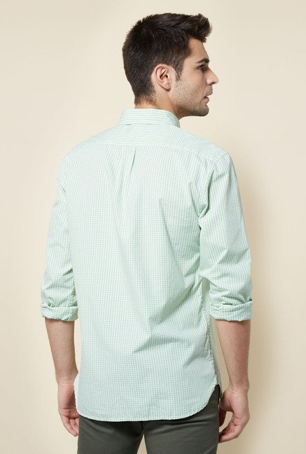 Cottonworld Green Checks Casual Shirt