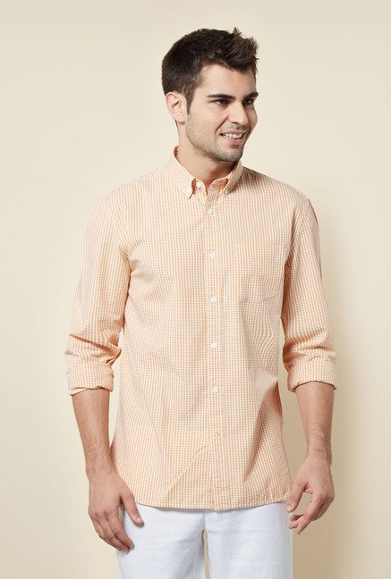 Cottonworld Orange Checks Casual Shirt