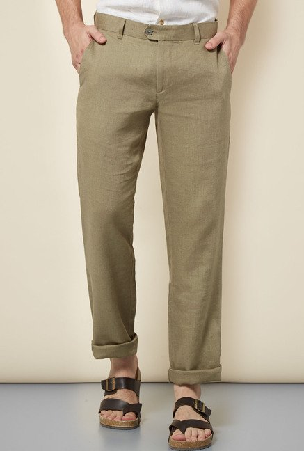 Cottonworld Olive Solid Chinos