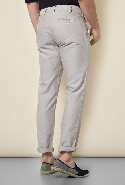 Cottonworld Grey Solid Chinos