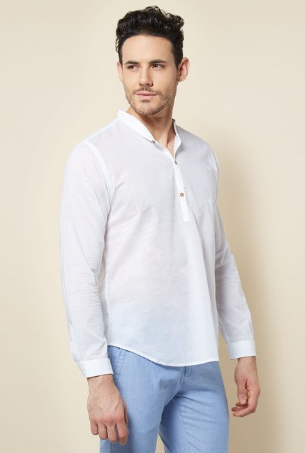 Cottonworld White Solid Casual Shirt