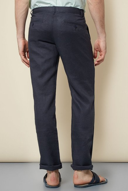 Cottonworld Black Solid Slim Fit Chinos