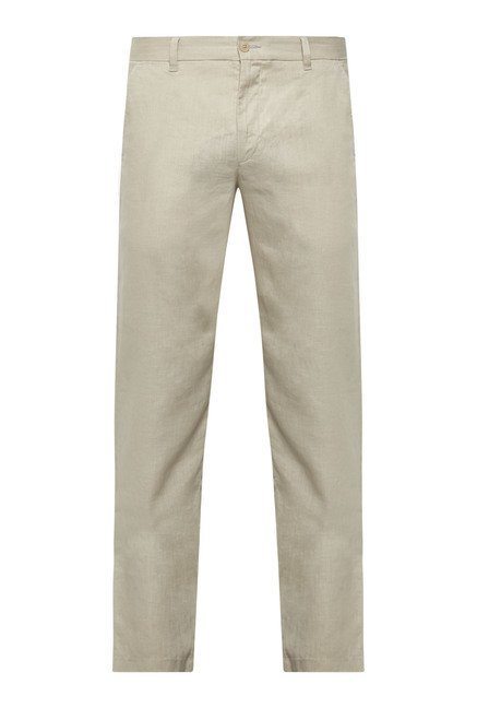 Cottonworld Beige Solid Slim Fit Chinos