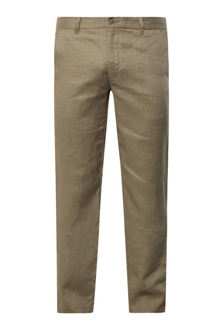 Cottonworld Dull Olive Solid Chinos