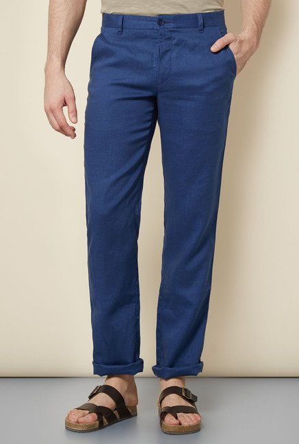 Cottonworld Indigo Solid Chinos
