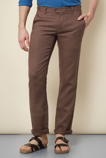 Cottonworld Brown Solid Chinos