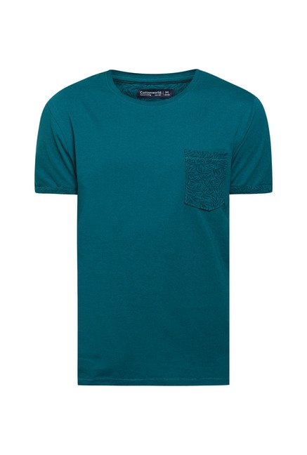Cottonworld Teal Green Solid Crew T Shirt