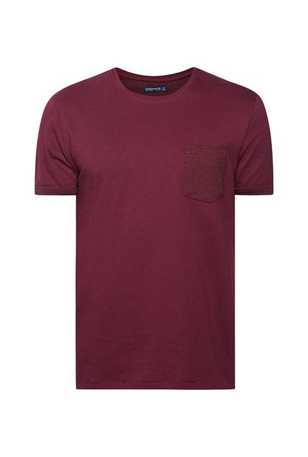 Cottonworld Wine Solid Crew T Shirt