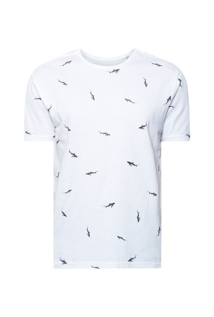 Cottonworld White Printed Crew T Shirt