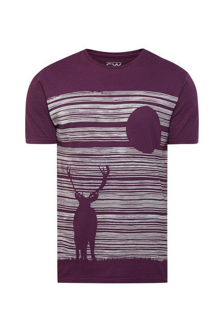 Cottonworld Purple Graphic Print Crew T Shirt