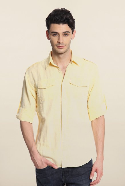 Cottonworld Yellow Solid Casual Linen Shirt