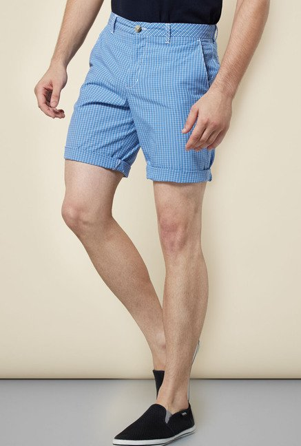 Cottonworld Blue Checks Shorts